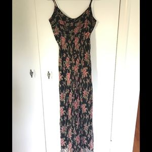 Black long dress with floral print
